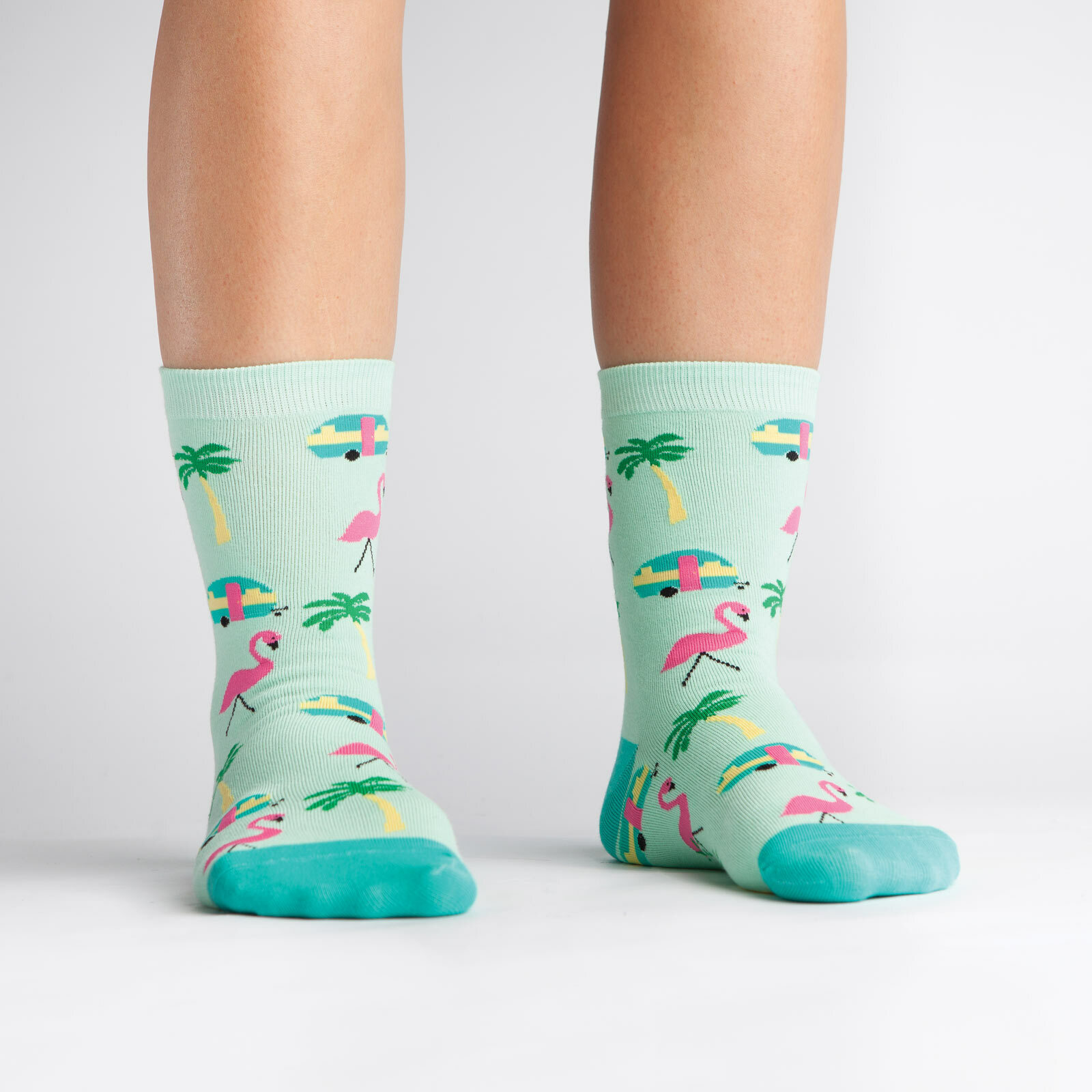 model wearing Florida - Flamingo Crew Socks Blue and Pink - Women's