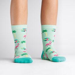 model wearing Florida - Flamingo Crew Socks Blue and Pink - Women's
