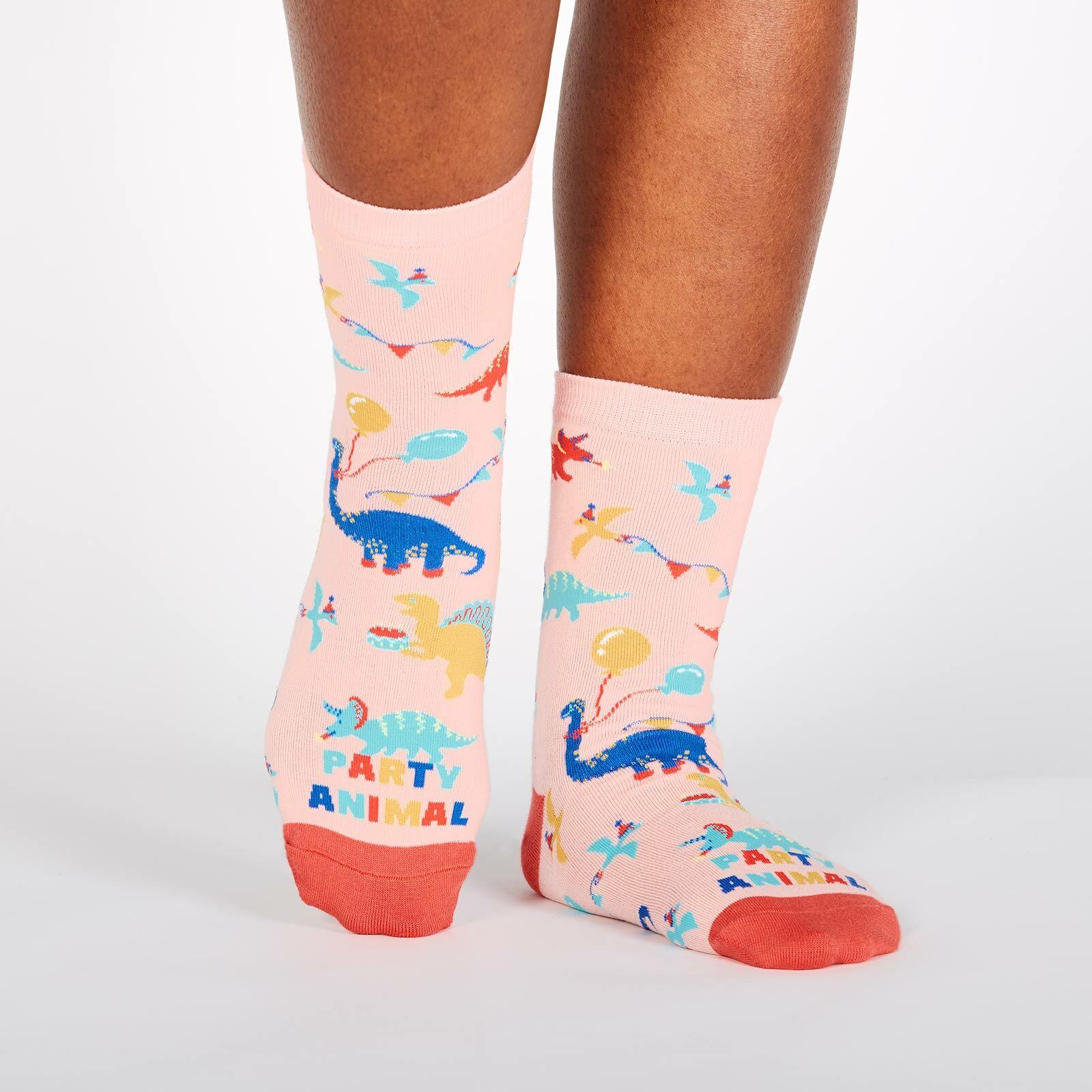 model wearing Party Animal - Dinosaur Party Crew Socks Pink - Women's