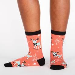 model wearing With Bells On! - Sweet Reindeer Vintage Holiday Crew Socks Pink - Women's