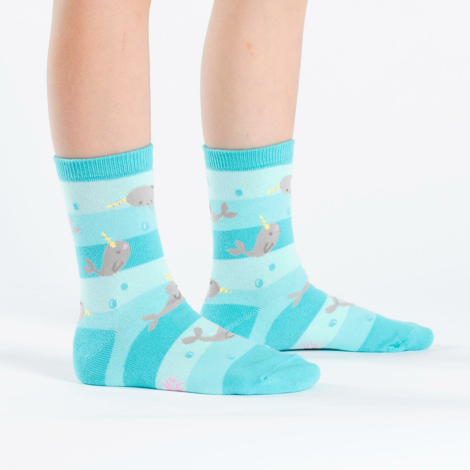 model wearing Unicorn Of The Sea - Narwhal Crew Socks Blue - Youth
