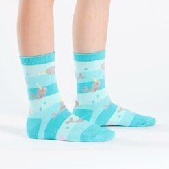model wearing Unicorn Of The Sea - Narwhal Crew Socks Blue - Youth