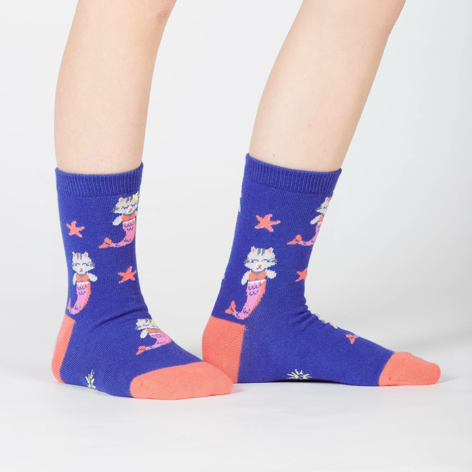model wearing Purrmaid - Mermaid Cat Crew Socks Turquoise - Youth