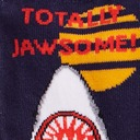 fabric detail of Totally Jawsome - Great White Shark Crew Socks Blue - Youth