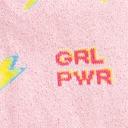 fabric detail of United We Shine - Sparkling Shimmer Girl Power Lightning Crew Socks Pink - Youth