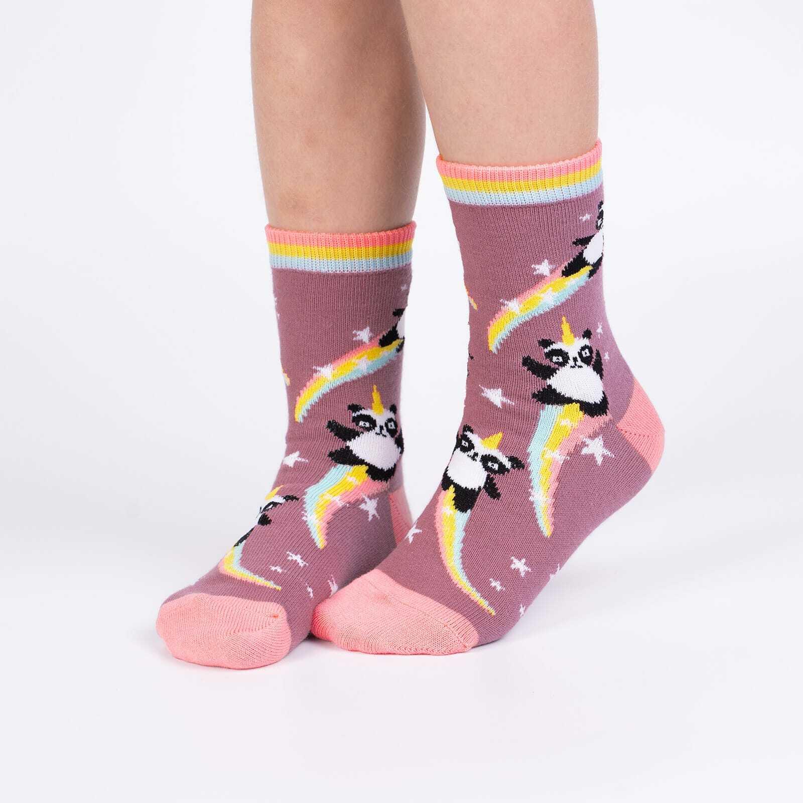 model wearing Pandacorn - Fun Mythical Panda Unicorn Crew Socks Pink - Youth