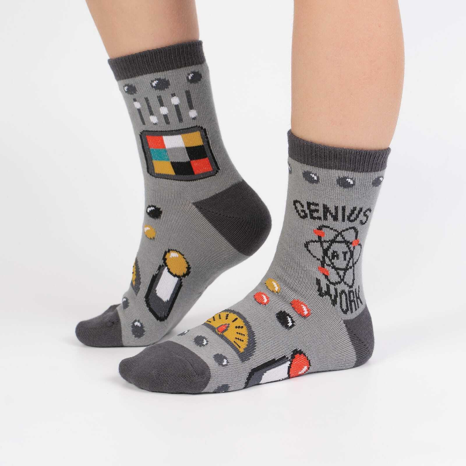 model wearing Genius At Work - Science Math Crew Socks Grey - Youth