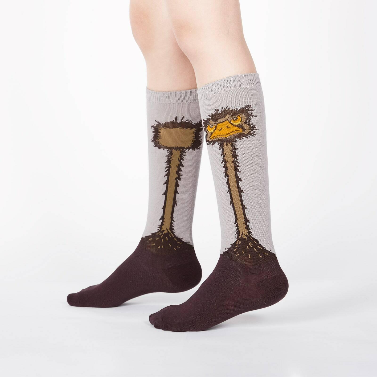 model wearing Ostrich - Funny Bird Knee High Socks Grey - Youth