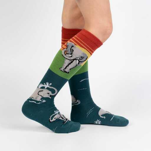 model wearing Make A Splash - Elephant Jungle Animal Knee Socks Turquoise - Youth
