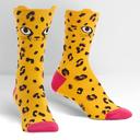 Chee-Toes - Pop-Up Ears - Cheetah Crew Socks Orange - Women's in Yellow