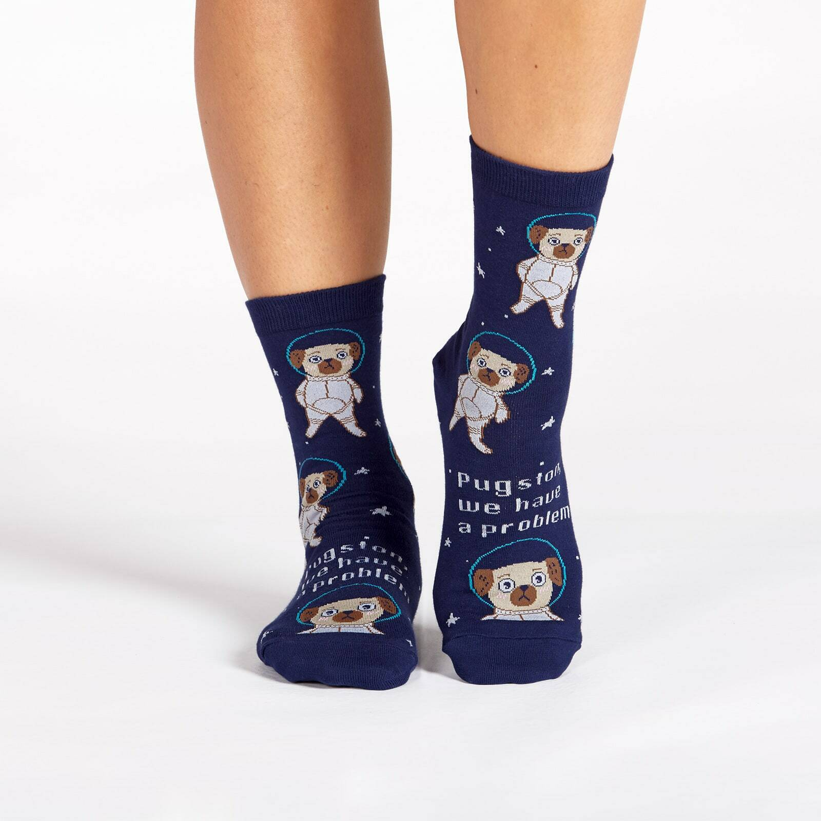 model wearing Pugston - Pugs In Space Crew Socks Blue and Brown - Women's