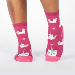 model wearing Look at Me Meow - Colorful and Cute Unicorn Kitty Crew Socks Pink - Women's