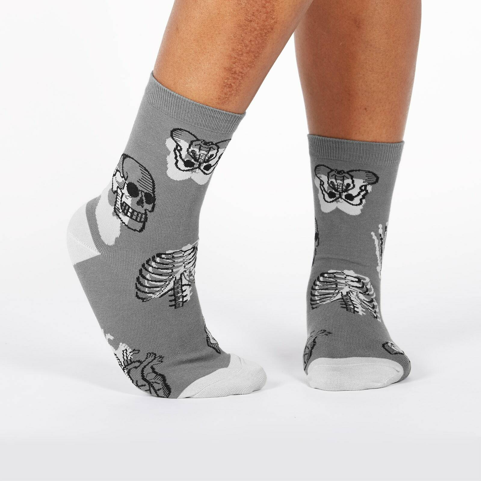 model wearing Head Over Heel - Human Anatomy Crew Socks Grey - Women's