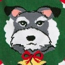 fabric detail of Deck the Paws - Dog and Cat Holiday Argyle Christmas Crew Socks Red - Women's