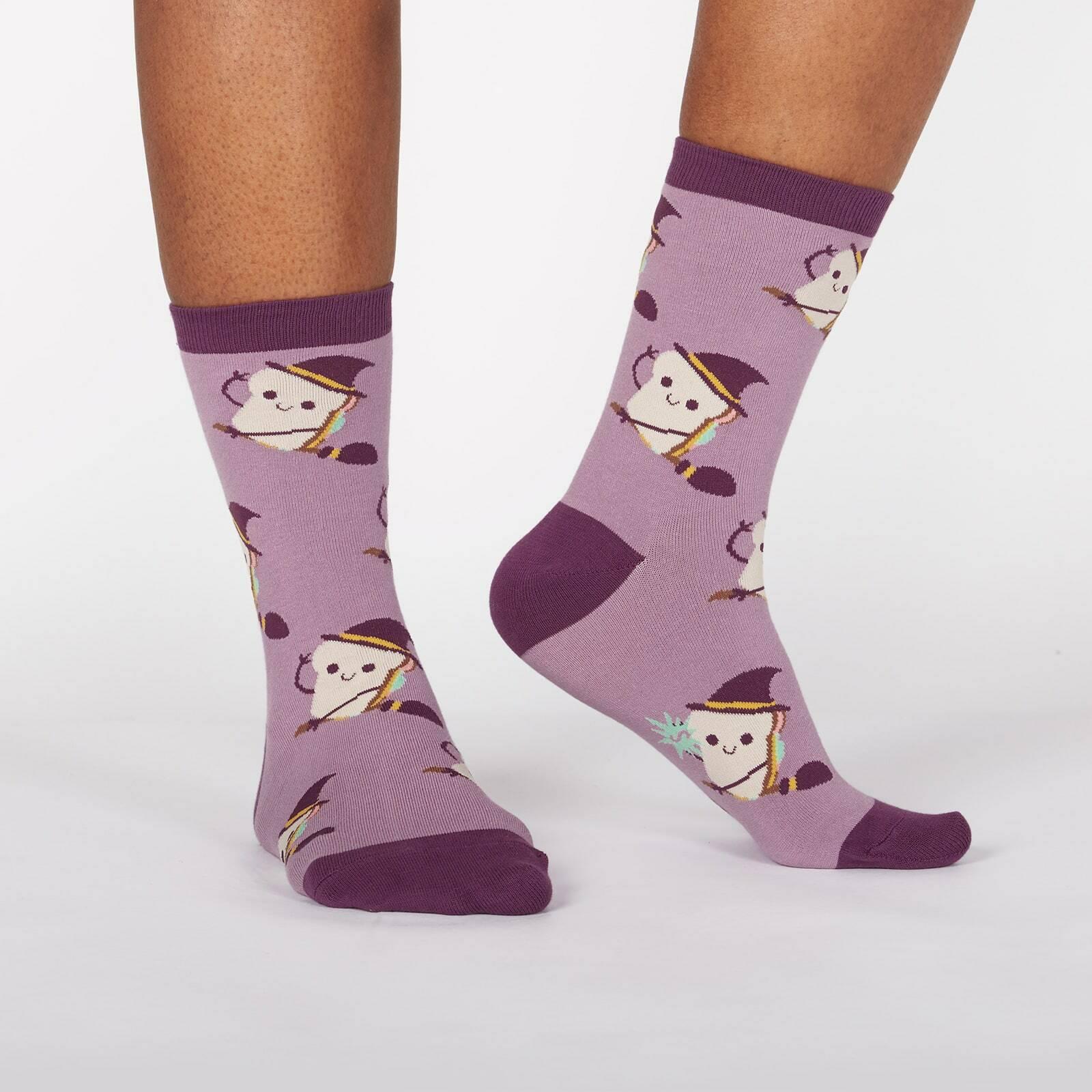model wearing Sandwitch - Sandwich Witch Halloween Crew Socks Purple - Women's