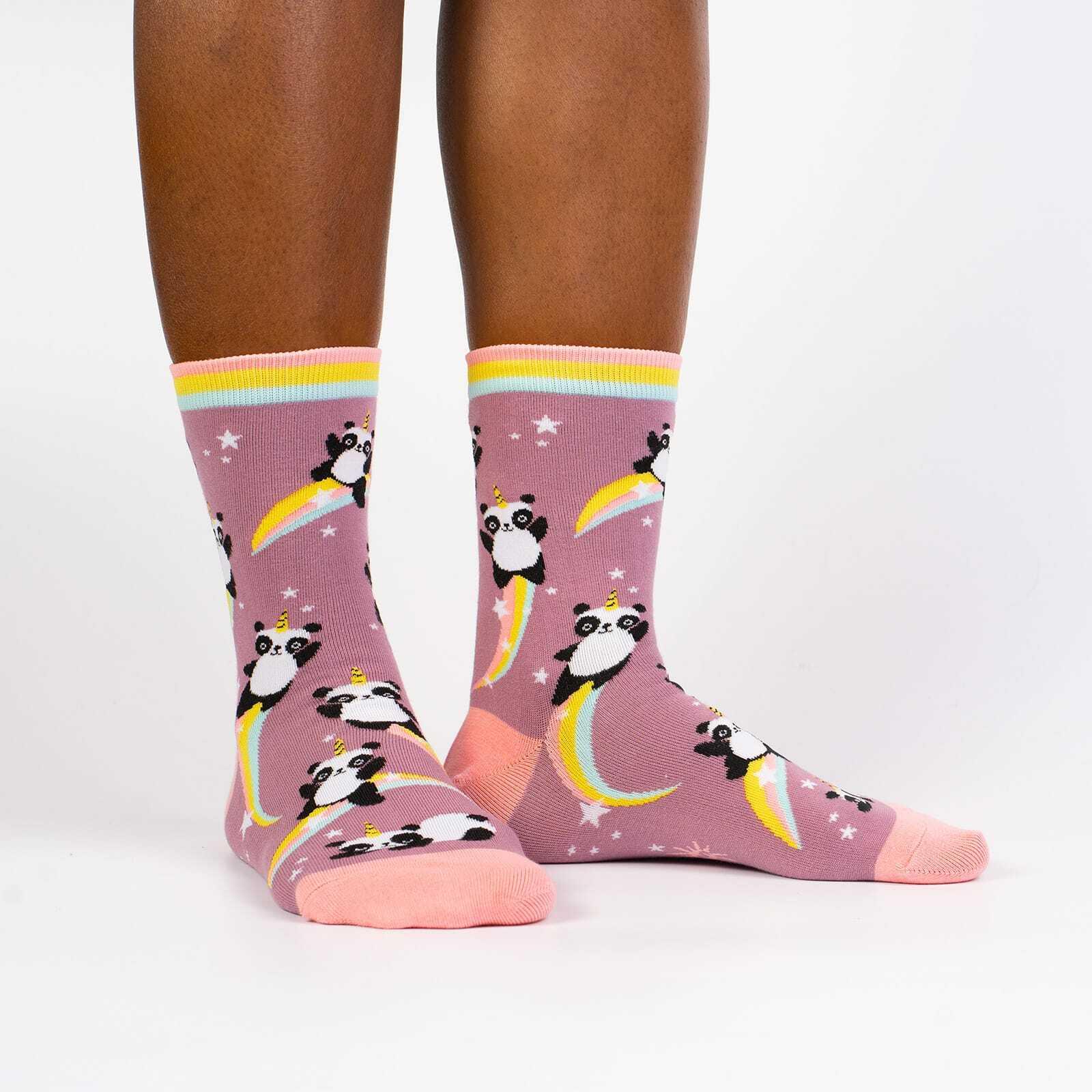 Pandacorn - Fun Mythical Panda Unicorn Crew Socks Pink - Women's in Pink