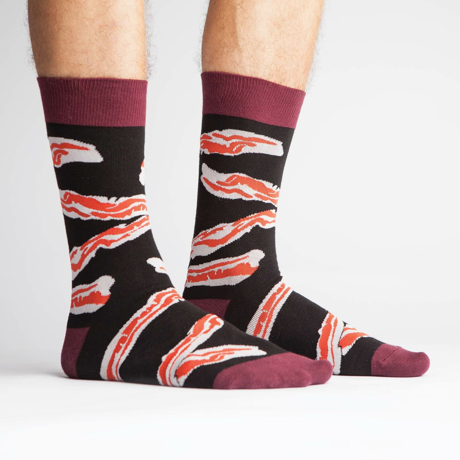 model side view of Bacon Crew Socks Black and Red - Men's