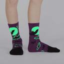 model wearing Batnado - Bat Tornado Glow in the Dark Halloween Crew Socks Purple - Junior's