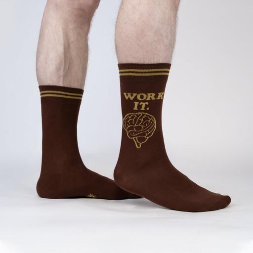 model wearing Work It - Smart Brain Crew Socks Brown - Men's