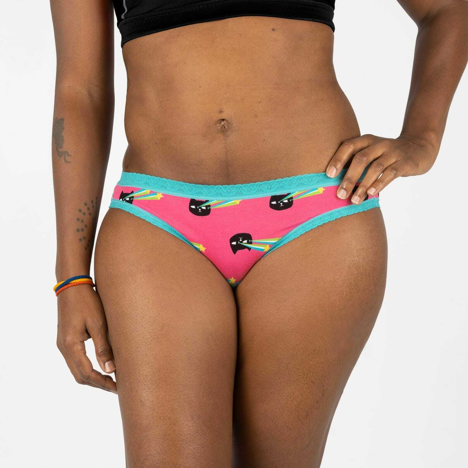 model wearing Pew Pew - Funny Laser Cat Bikini Cut Pink - Women's Sizes XS-XL