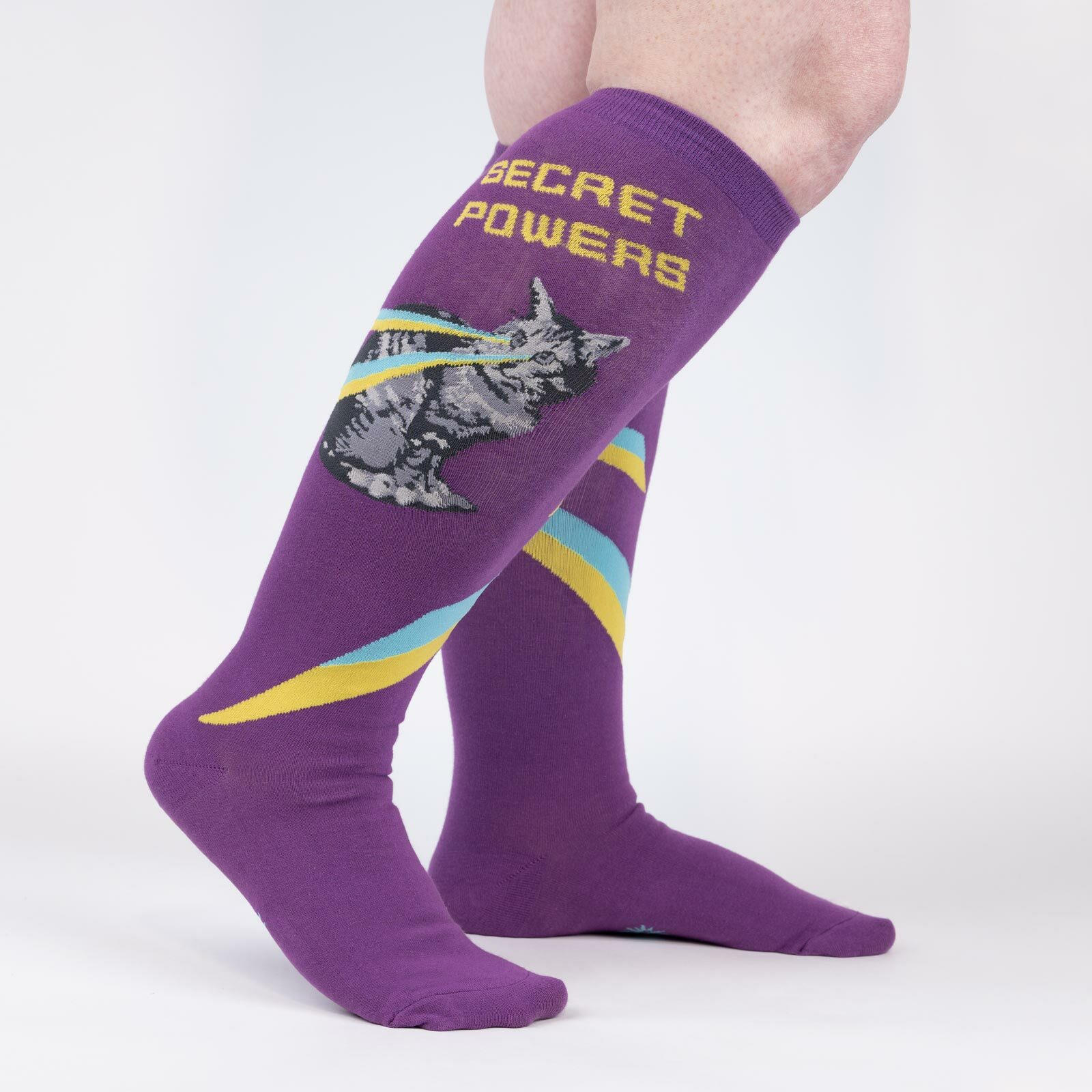 model wearing Secret Powers - Superhero Cat Knee High Socks Purple - Unisex