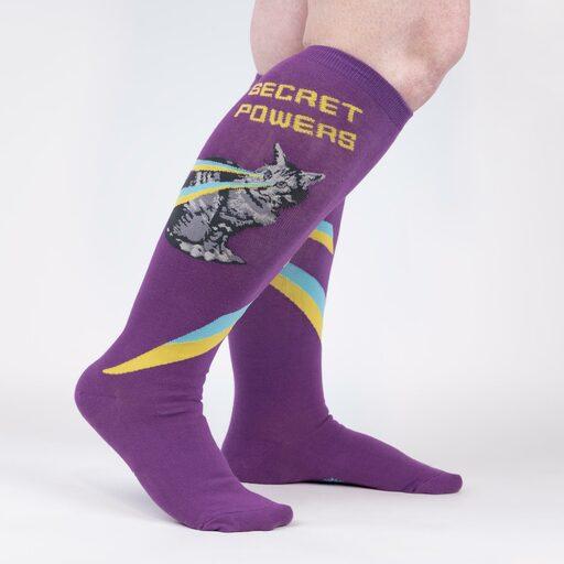 model wearing Secret Powers - Superhero Cat Knee High Socks Purple - Unisex