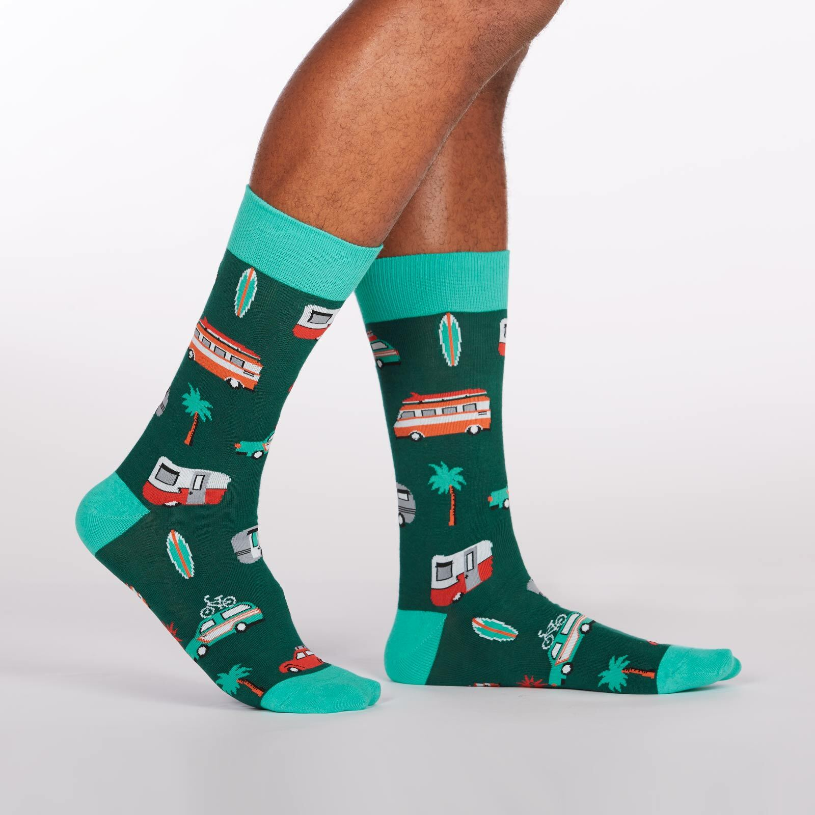 Day Tripper - Roadtrip Crew Socks Green - Men's in Green