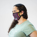 model wearing adult size of I Speak Unicorn - Rainbow Unicorn Face Masks Purple - Unisex