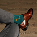 model wearing Luxe Best in Show Men's Dress Socks | Size: 7-13 | Red