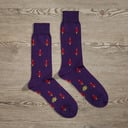 Luxe Rocket Man Men's Dress Socks   Size: 7-13   Orange in Grey