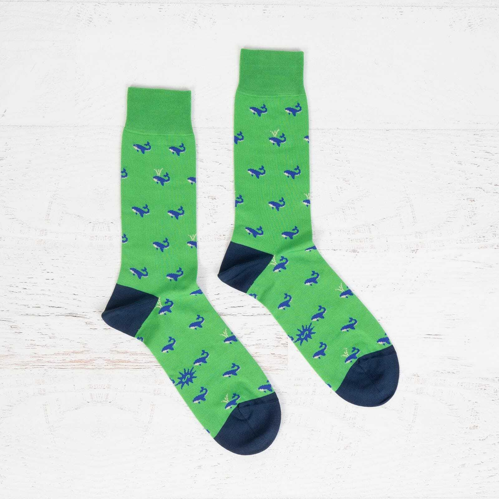 Men's Luxe Whale Dress Socks in Coral