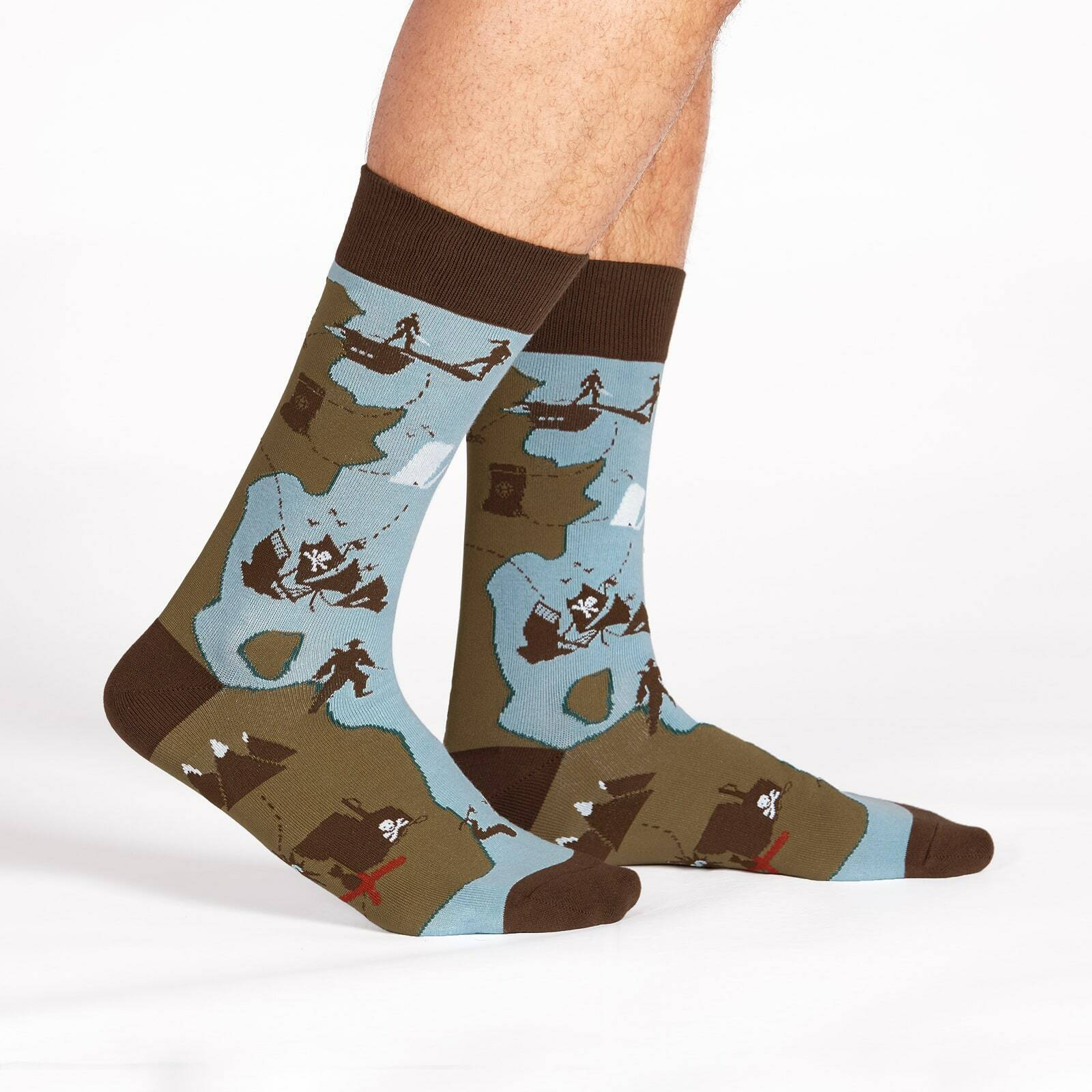 X Marks The Spot - Pirate Crew Socks Blue and Brown - Men's in Blue