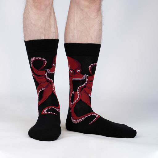 The Octive Reader - Reading Octopus Crew Socks Teal - Men's in Teal