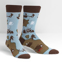 Blue variant of X Marks The Spot - Pirate Crew Socks Blue and Brown - Men's