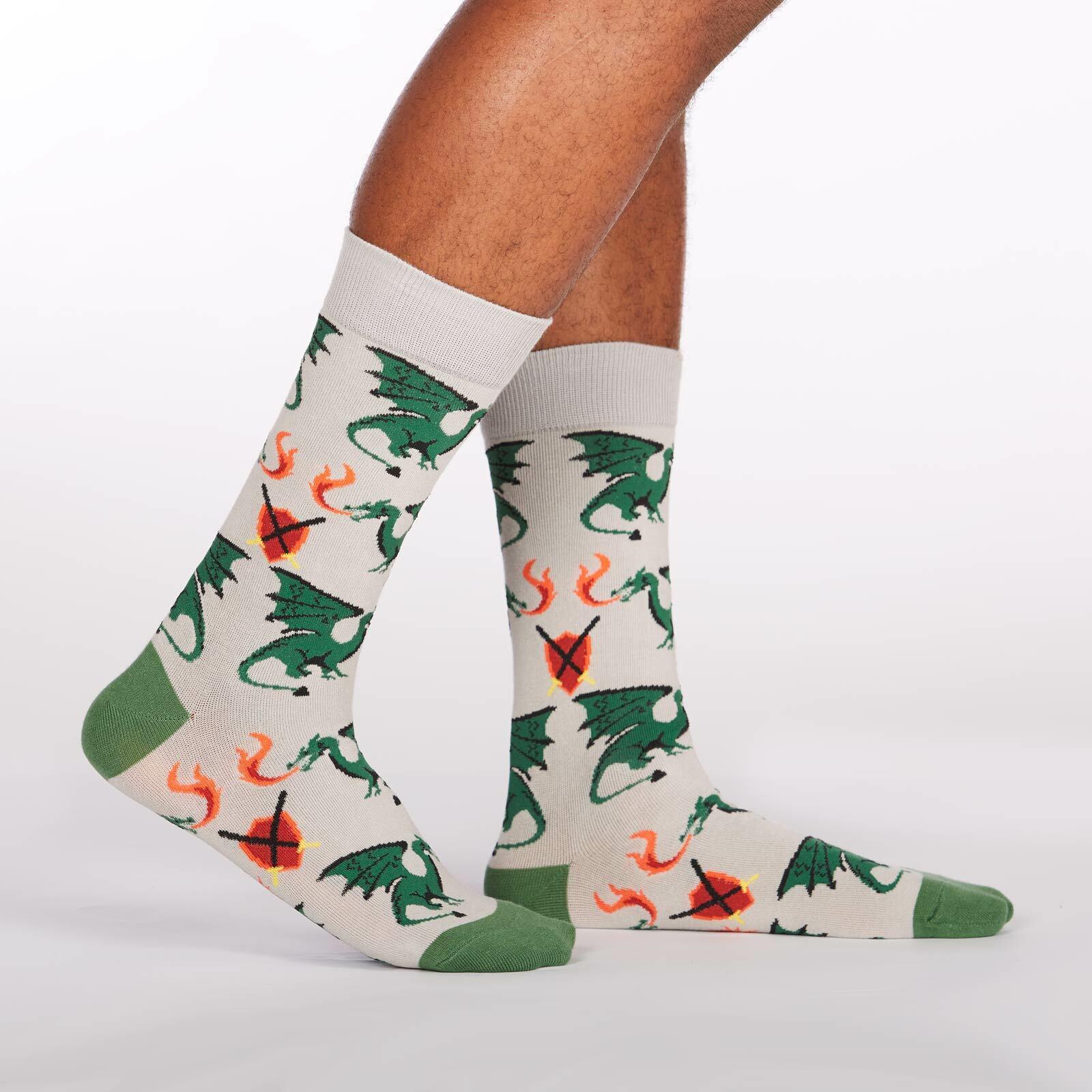 Beware of Dragons - Dragon Crew Socks Grey - Men's in Grey