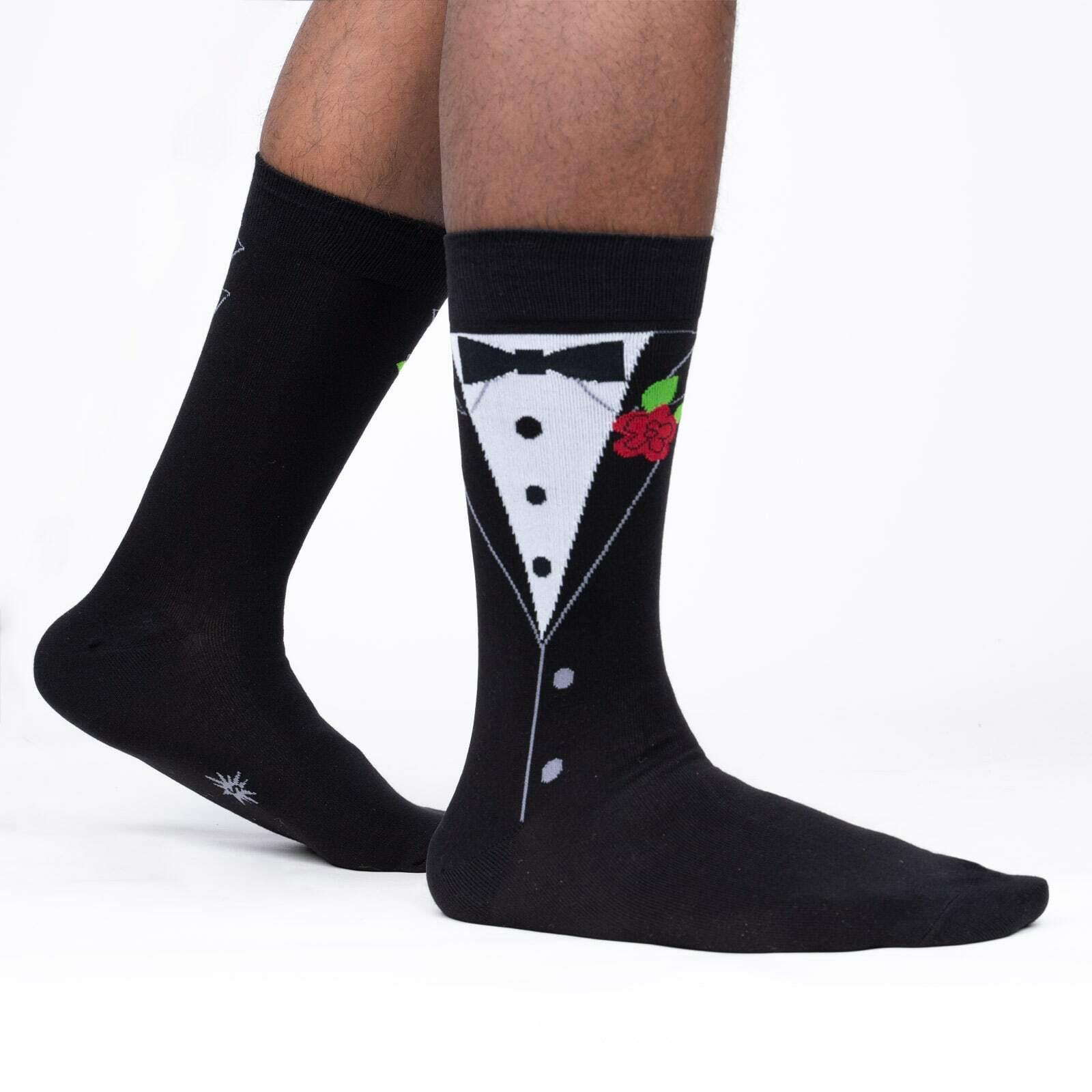Black Tie Affair - Suit Up Black Men's Crew Socks - Sock It to Me in Black
