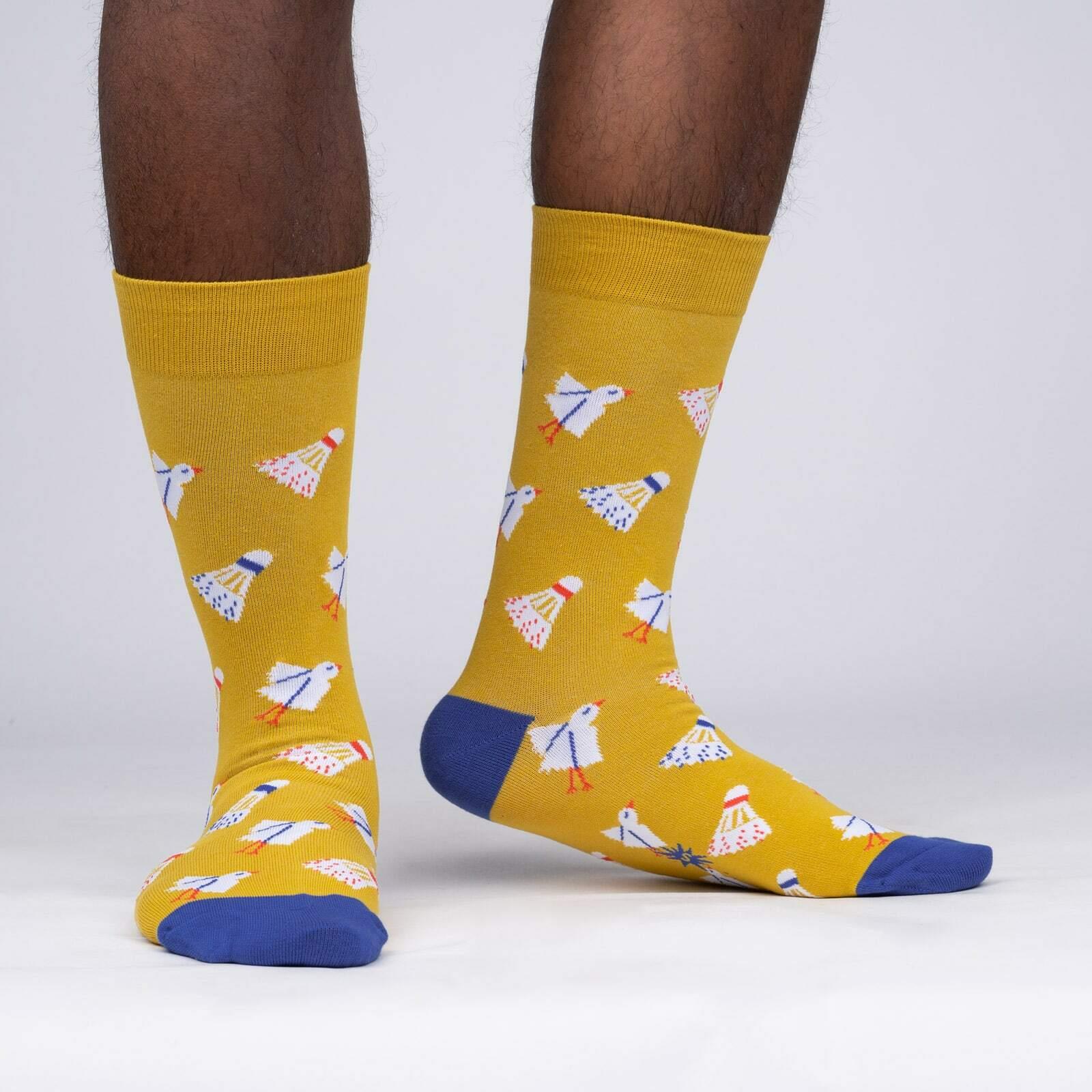 Shuttle Sock - Badminton Sports Yellow Men's Crew Socks - Sock It to Me in Yellow