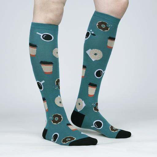 model side view of Coffee Break - Caffeinated Cup of Java Teal Women's Knee High Socks - Sock It to Me
