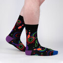 model side view of Bowling Alley Carpet - Funky 80s Neon Crew Socks - Men's