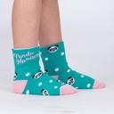 model side view of Panda Pair - Adorable Panda Bear Turn Cuff Socks - Junior