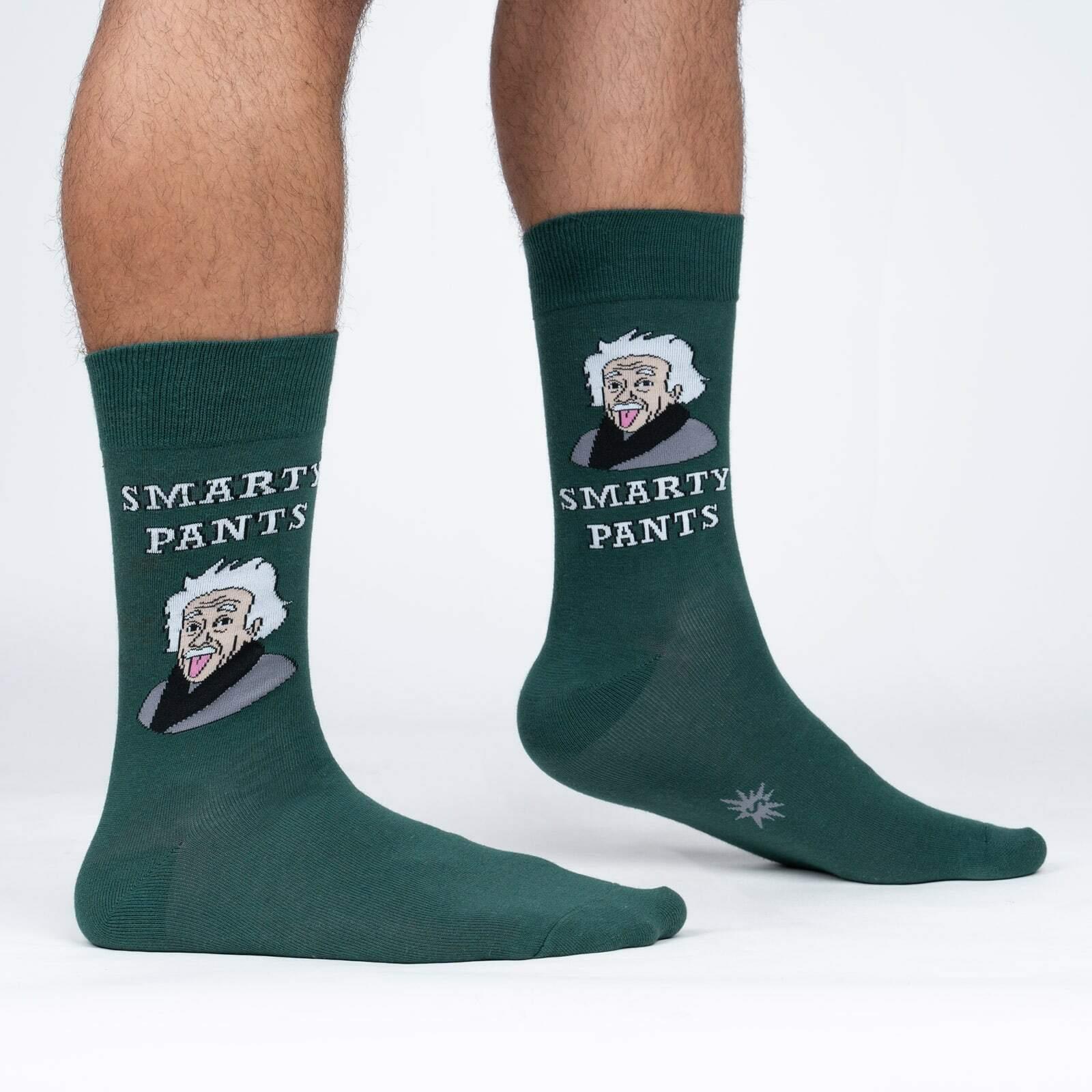 model side view of Smarty Pants - Silly Einstein Crew Socks - Men's