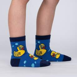 model side view of Lucky Duckies - Adorable Rubber Duck Crew Socks - Toddler