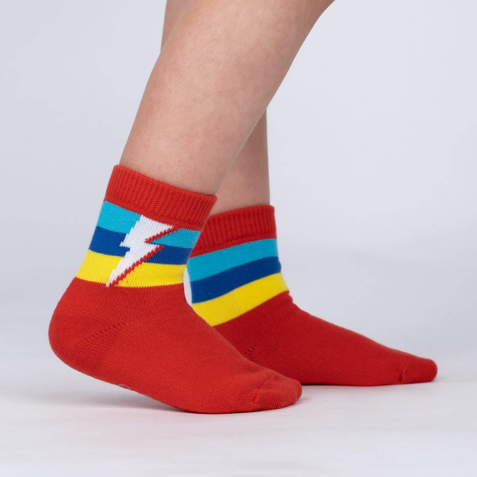 model side view of Super Kid - Superhero Lightning Bolt Crew Socks - Toddler