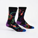 Bowling Alley Carpet - Funky 80s Neon Crew Socks - Men's in Black