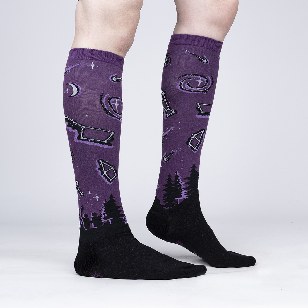 model side view of Make A Wish - Glow In The Dark Constellation Knee Socks - Women's