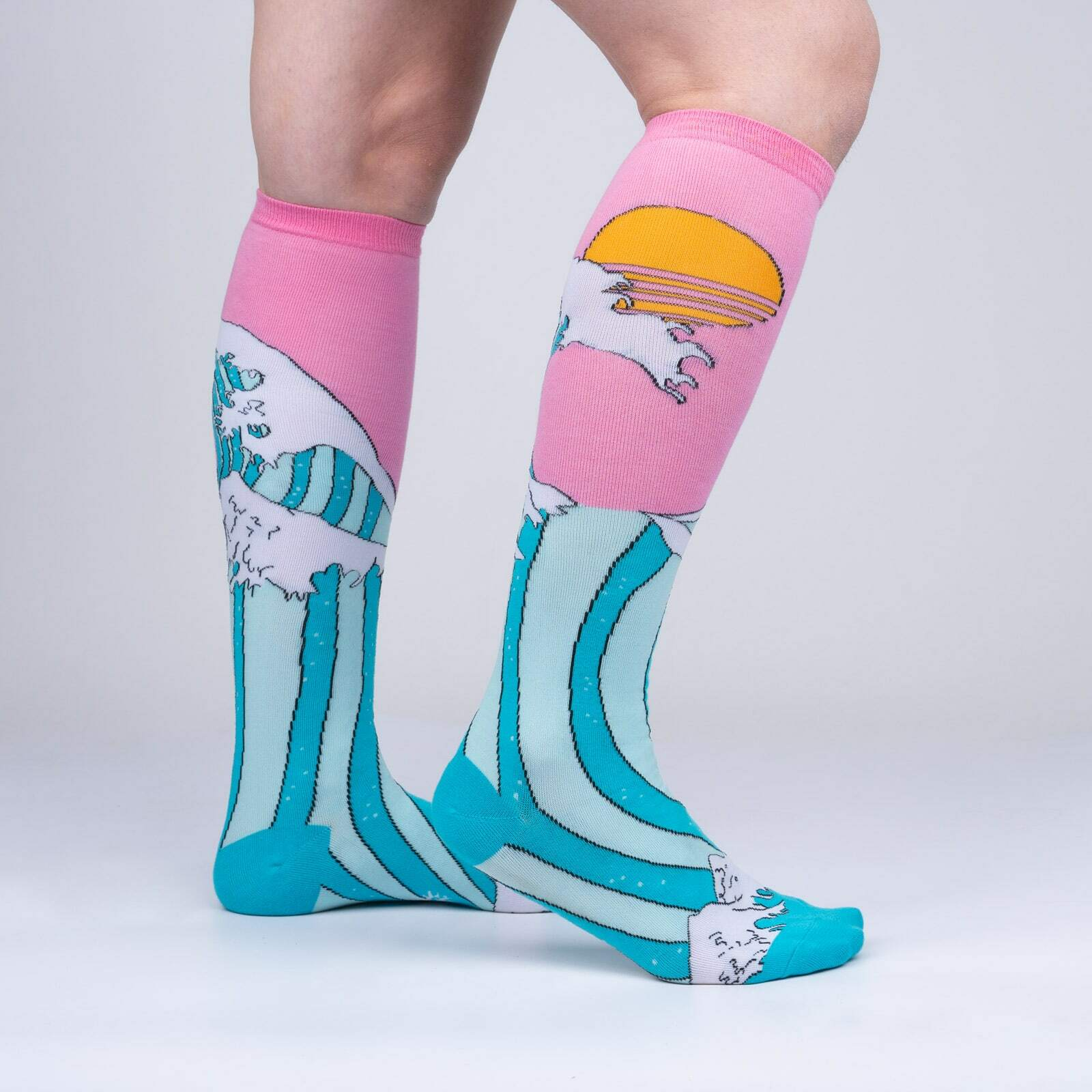 model side view of The Wave - Art History Vaporwave Knee High Socks - Women's