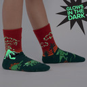 model wearing Dinosaur Days - Jurassic Volcano Crew Socks Red - Youth