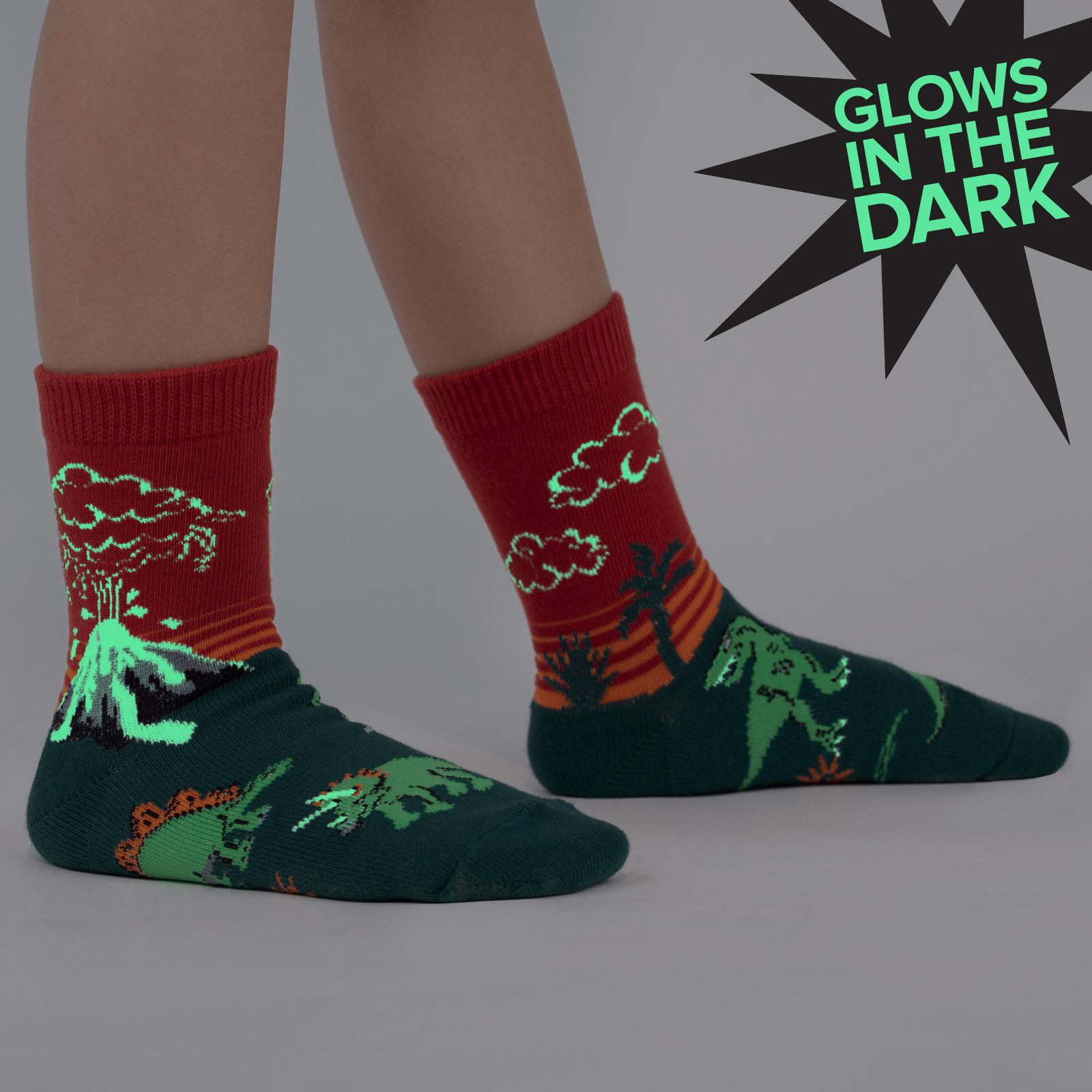model wearing Dinosaur Days - Jurassic Volcano Crew Socks Red - Junior