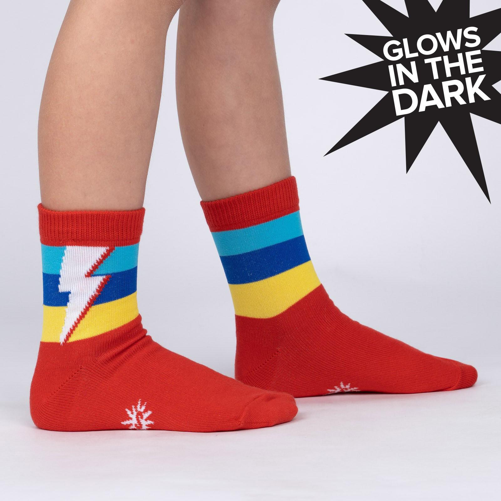 model side view of Super Kid - Superhero Lightning Bolt Crew Socks - Youth