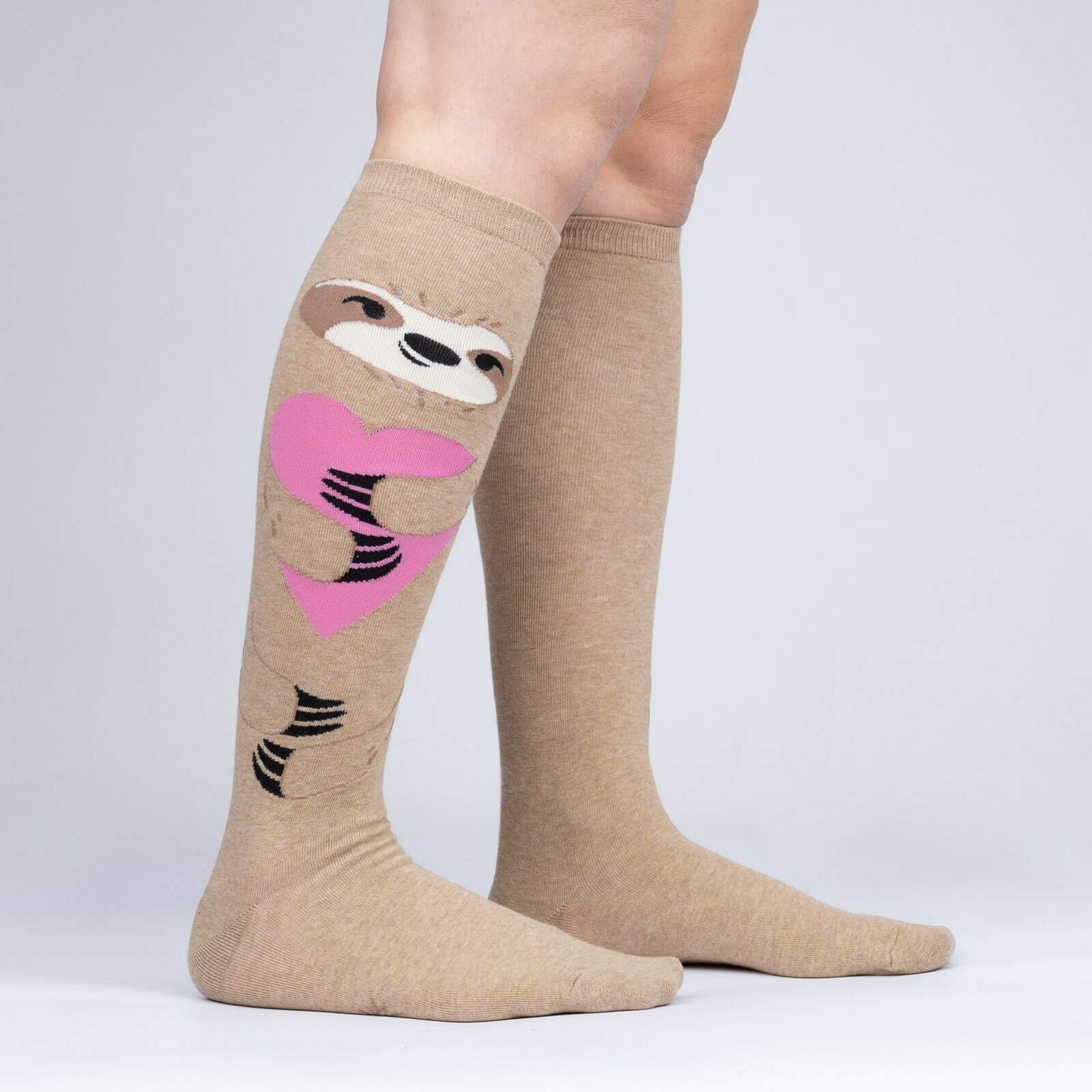 model side view of A Long Slow Hug - Heathered Sloth Socks - Women's